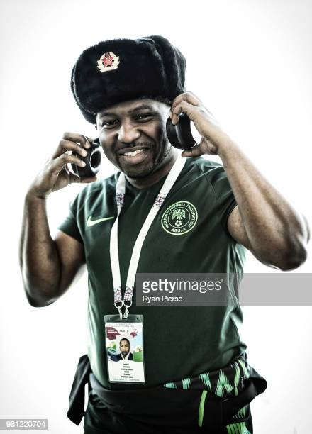Nigeria fans pose during the 2018 FIFA World Cup Russia at Sheremetyevo Airport on June 22 2018 in Moscow Russia
