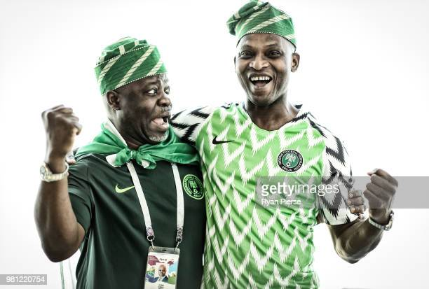 Nigeria fans pose during the 2018 FIFA World Cup Russia at Sheremetyevo Airport on June 22, 2018 in Moscow, Russia.