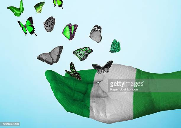 nigeria flag painted on hand with butterflies - nigerian flag stock photos and pictures
