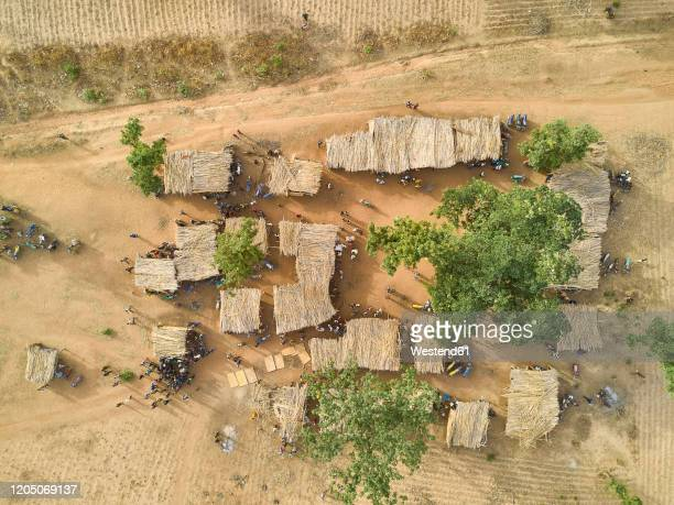 nigeria, ibadan, aerial view of kamberi tribe market - village stock pictures, royalty-free photos & images