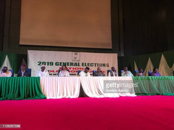 Nigeria Independent National Electoral Commission President Mahmood Yakubu holds a press conference in Abuja Nigeria on February 13 2019 Nigeria's...