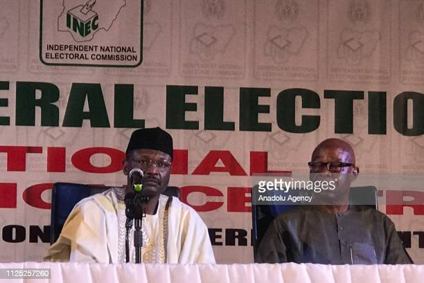 Nigeria Independent National Electoral Commission President Mahmood Yakubu makes a speech as he holds a press conference in Abuja Nigeria on February...