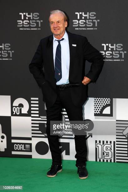 Nigeria Manager Gernot Rohr arrives on the Green Carpet ahead of The Best FIFA Football Awards at Royal Festival Hall on September 24 2018 in London...