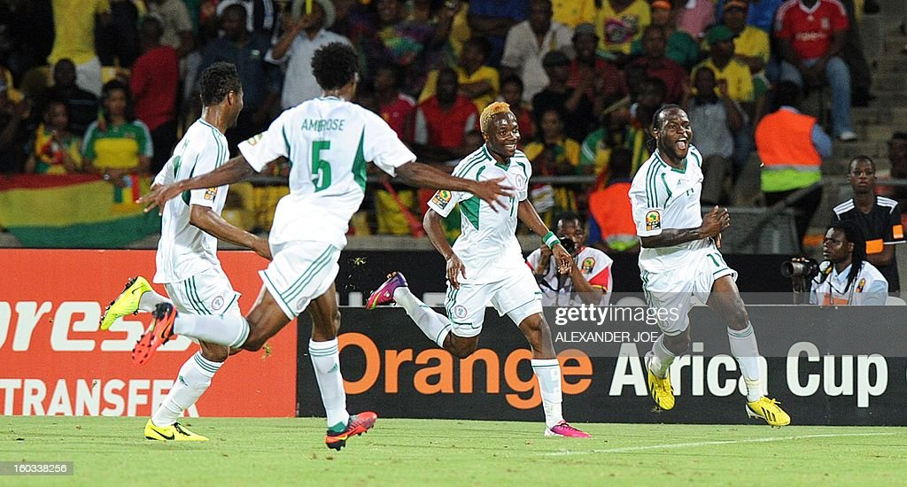 Nigeria midfielder Victor Moses (R) celebrates after scoring against Ethiopia on January 29, 2013 during a 2013 African Cup of Nations Group C football match at the Royal Bafokeng stadium in Rustenburg.