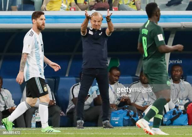 Nigeria national team head coach Gernot Rohr gestures during the 2018 FIFA World Cup Russia group D match between Nigeria and Argentina on June 26...
