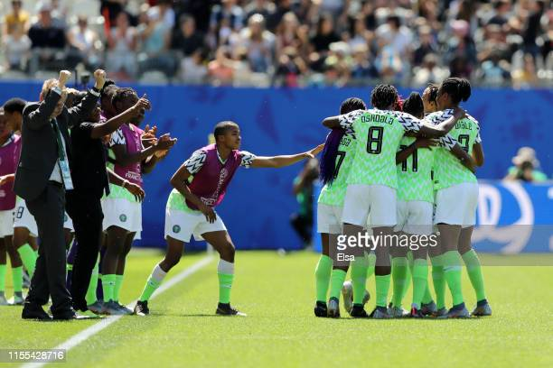 Nigeria players celebrate after Doyeon Kim of Korea Republic scores an own goal, Nigeria's first goal during the 2019 FIFA Women's World Cup France...