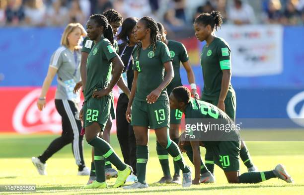 Nigeria players look dejected following their sides defeat in the 2019 FIFA Women's World Cup France Round Of 16 match between Germany and Nigeria at...