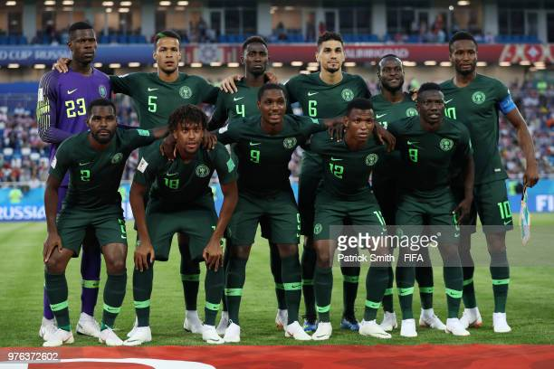 Nigeria players pose for a team photo prior to the 2018 FIFA World Cup Russia group D match between Croatia and Nigeria at Kaliningrad Stadium on...