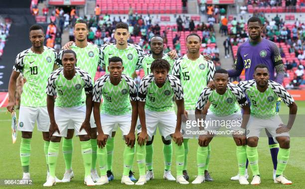 Nigeria pose for a team group during the International Friendly between England and Nigeria at Wembley Stadium on June 2 2018 in London England
