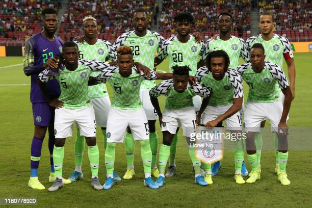 Nigeria pose for a team photo before the international friendly match between Brazil and Nigeria at the Singapore National Stadium on October 13,...