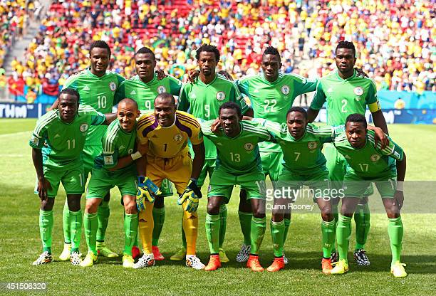 Nigeria pose for a team photo prior to the 2014 FIFA World Cup Brazil Round of 16 match between France and Nigeria at Estadio Nacional on June 30...