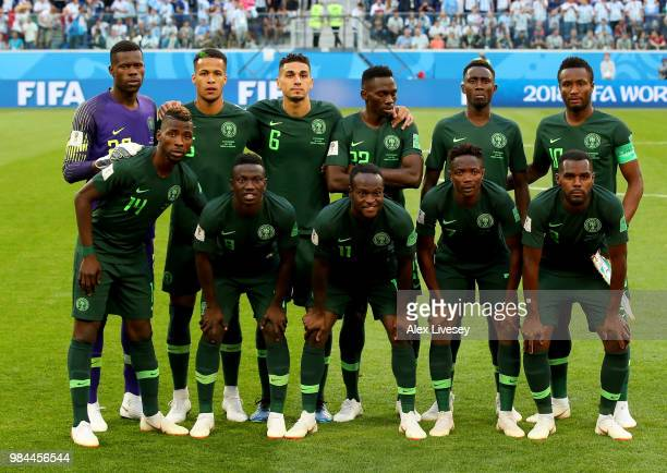 Nigeria pose prior to the 2018 FIFA World Cup Russia group D match between Nigeria and Argentina at Saint Petersburg Stadium on June 26 2018 in Saint...
