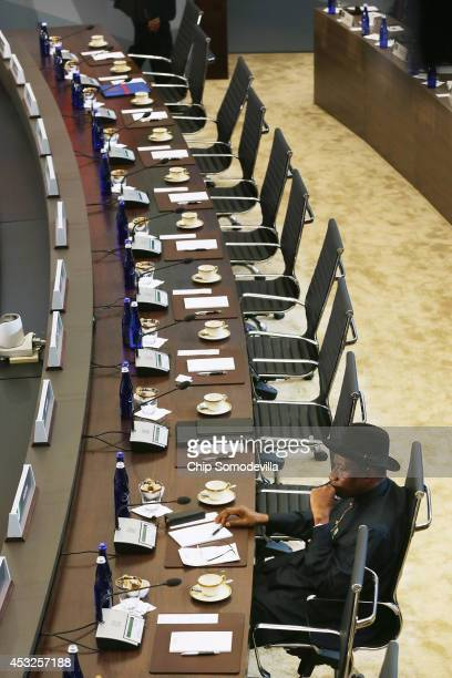 Nigeria President Goodluck Jonathan waits for his fellow leaders before the third and final plenary meeting of the USAfrica Leaders Summit at the...