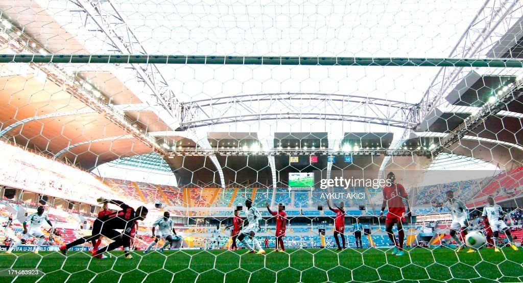 Nigeria scores on June 24, 2013 during a group stage football match between Cuba and Nigeria at the FIFA Under 20 World Cup at the Kadir Has Stadium in Kayseri.