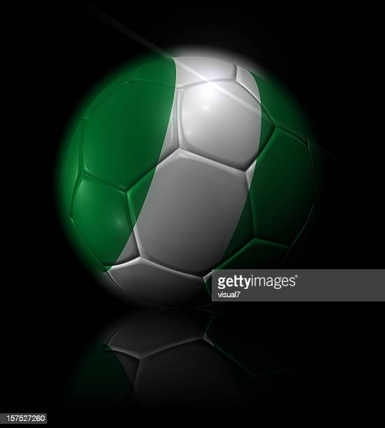 nigeria soccer ball - nigerian flag stock photos and pictures