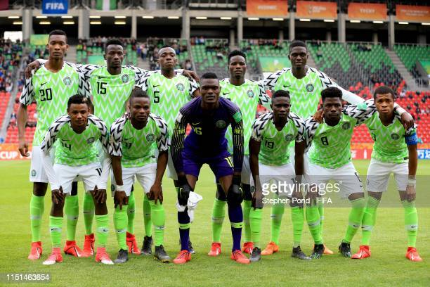 Nigeria team group during the 2019 FIFA U20 World Cup group D match between Qatar and Nigeria at Tychy Stadium on May 24 2019 in Tychy Poland