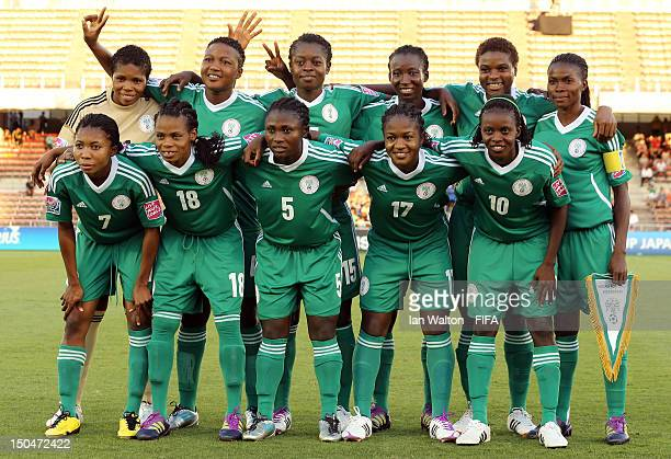 Nigeria team line up during the FIFA U-20 Women's World Cup Japan 2012, Group B match between Nigeria v Korean Republic at Komaba Stadium on August...
