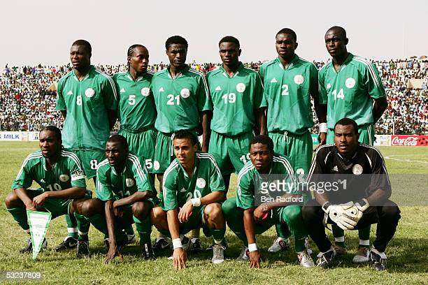 Nigeria team line up prior to the 2006 World Cup Qualifying match between Nigeria and Angola at the Sany Abacha Stadium on June 18 in Kano Nigeria