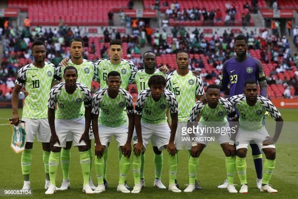 Nigeria team Nigeria's midfielder John Obi Mikel Nigeria's defender William TroostEkong Nigeria's defender Leon Balogun Nigeria's midfielder Victor...