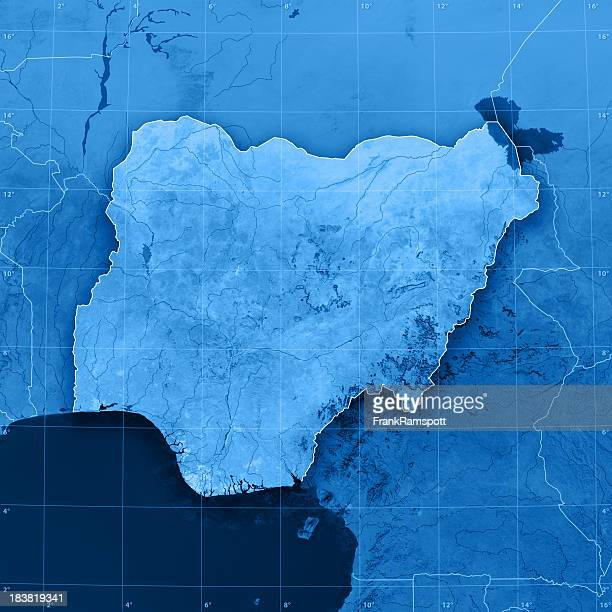 nigeria topographic map - nigeria stock pictures, royalty-free photos & images