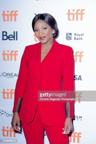 Nigerian actress Genevieve Nnaji attends the Farming red carpet premiere during the Toronto International Film Festival at Scotiabank Theatre on...