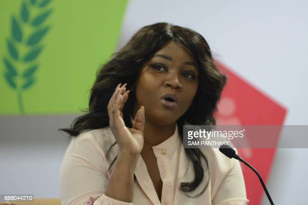Nigerian actress philanthropist and TIME 100 Most Influential People Award recipient Omotola Jalade Ekeinde speaks during the 'Nollywood Meets...