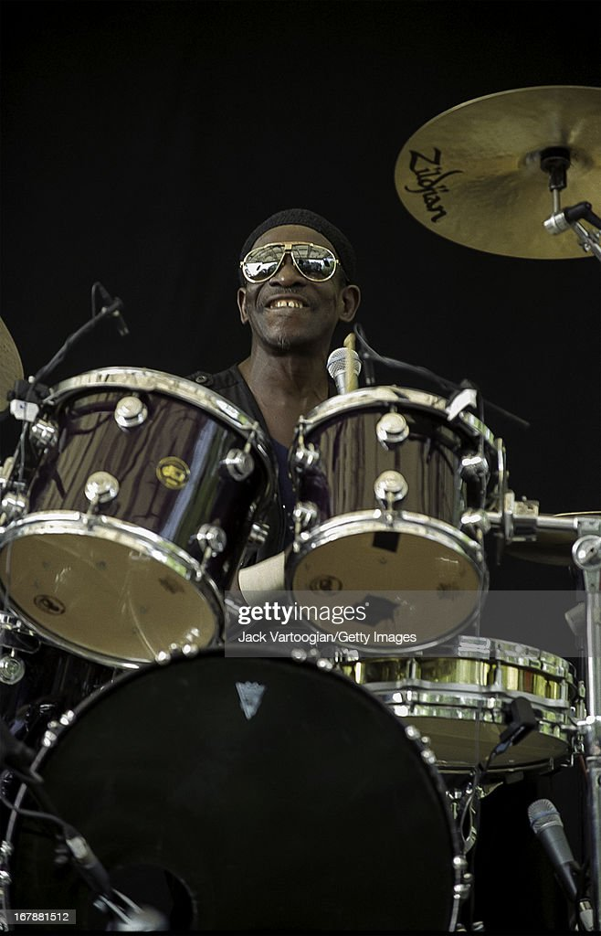 Nigerian Afro-Beat musician Tony Allen plays drums as he leads his