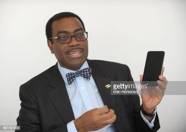 Nigerian Agriculture Minister and candidate for the election of the next president of the African Development Bank Akinwumi Adesina poses in Paris on...
