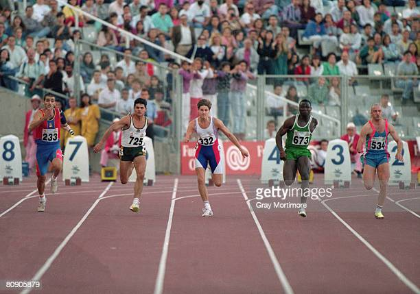 Nigerian athlete Ajibola Adeoye competing in the 100 metres event for singlearm amputees at the Summer Paralympics in Barcelona Spain September 1992...