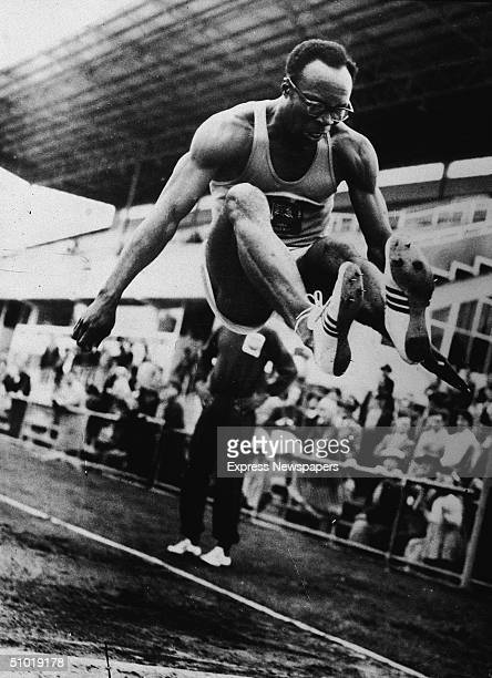 Nigerian athlete Karimu Babalola Olowu trains at the Olympic Park for the long jump in the 1956 Olympics, Melbourne, Australia, late 1956.