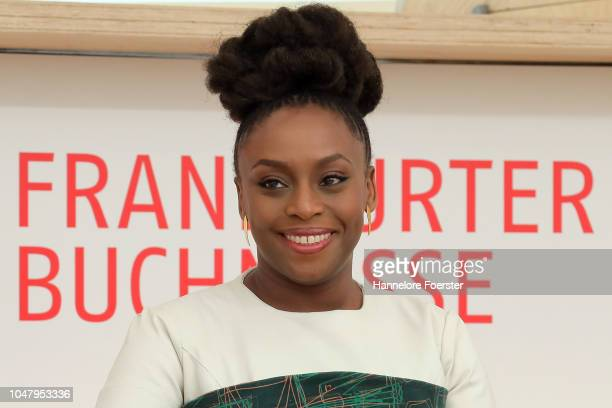 Nigerian author Chimamanda Ngozi Adichie speaks at the opening presse conference of the Frankfurt Book Fair on October 9 2018 in Frankfurt Germany...