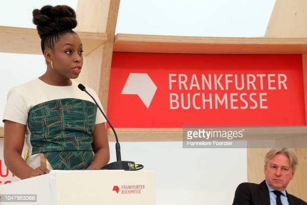 Nigerian author Chimamanda Ngozi Adichie, speaks at the opening presse conference of the Frankfurt Book Fair on October 9, 2018 in Frankfurt,...