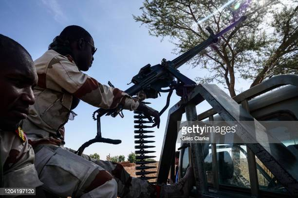 Nigerian border,Maradi, Niger. December 12, 2019. Niger Army soldiers on security patrol near Maradi at the border with Nigeria.