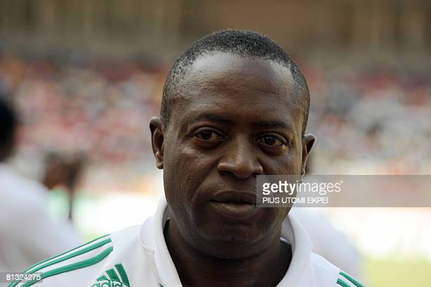 Nigerian Coach Amodu Shaibu leaves the pitch after the match against South African during FIFA 2010 World Cup and Africa Cup of Nations qualifying...