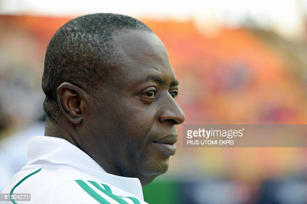 Nigerian Coach Amodu Shaibu watches his team play against South African Bafana Bafana during FIFA 2010 World Cup and Africa Cup of Nations qualifying...