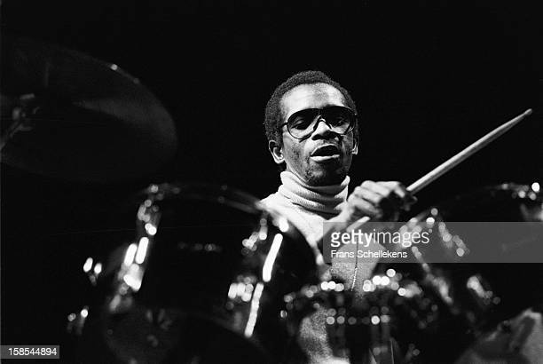 Nigerian drummer Tony Allen performs live on stage at the Melkweg in Amsterdam Netherlands on 11th March 1988