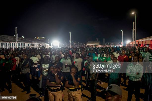 Nigerian fans watch the Russia 2018 World Cup Group D football match between Croatia and Nigeria at a fan zone in Lagos on June 16 2018 Croatia...
