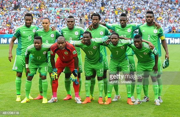 Nigeria's midfielder John Obi Mikel Nigeria's forward Peter Odemwingie Nigeria's forward Emmanuel Emenike Nigeria's defender Efe Ambrose Nigeria's...