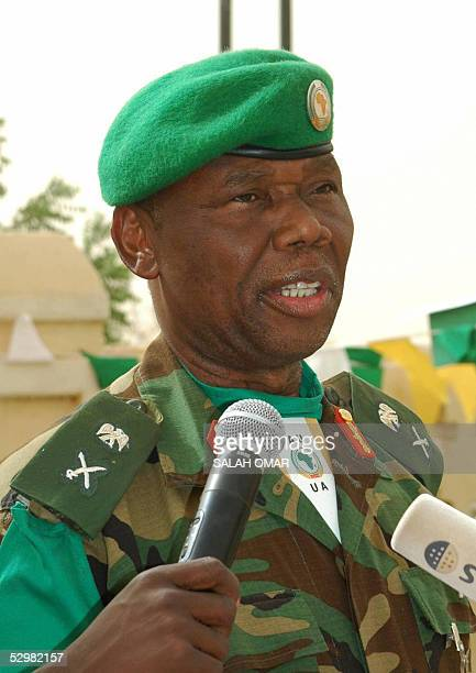 Nigerian Force Commander Major General Festus Okonkwo of the African Union mission in Sudan speaks to the media after marking Africa Day 25 May 2005...