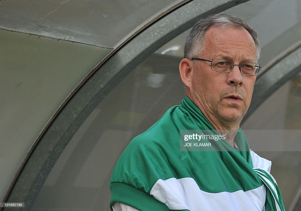 Nigerian head coach Lars Lagerback is seen during their friendly match between Saudi Arabia and Nigeria in Alpen stadium in Tyrolian Wattens on May 25 2010 prior to the FIFA World Cup 2010 hosted by South Africa.i