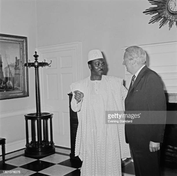 Nigerian Heath of State Yakubu Gowon visits British Prime Minister Edward Heath at 10 Downing Street in London for talks, UK, 13th June 1973.
