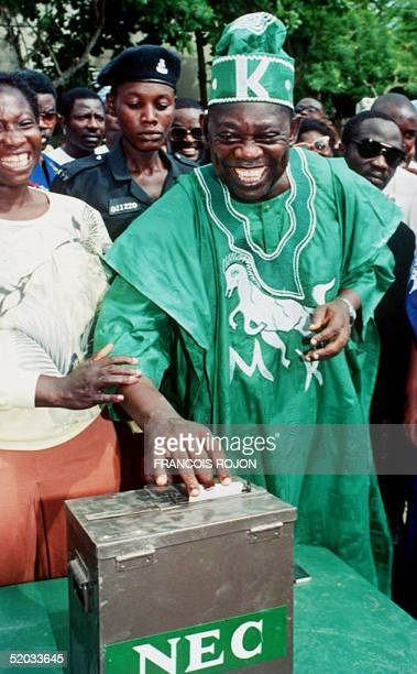 Nigerian main opposition leader and presidential candidate Moshood Abiola votes in Lagos in a 12 June 1993 file photo. Abiola, the presumed winner of...