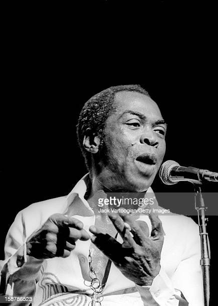 Nigerian musician and composer Fela Kuti performs at the Apollo Theater in Harlem New York New York July 28 1989