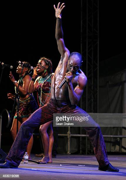 Nigerian musician Seun Kuti performs with the band Egypt 80 during the opening night of the Emancipation Village at the Queen's Park Savannah on July...