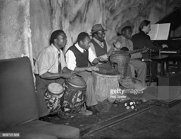 Nigerian musicians of The West African Rhythm Brothers providing the music for Les Ballets Negres during a rehearsal at Mack's Rehearsal Rooms in...