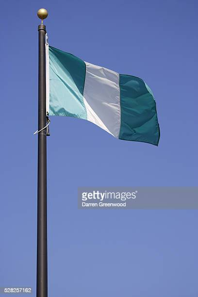 nigerian national flag - nigerian flag stock photos and pictures
