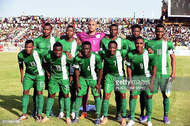 Nigerian national football team poses during the African Cup of Nations qualification match on March 25 2016 in Kaduna Egypt held Nigeria to a 1 1...