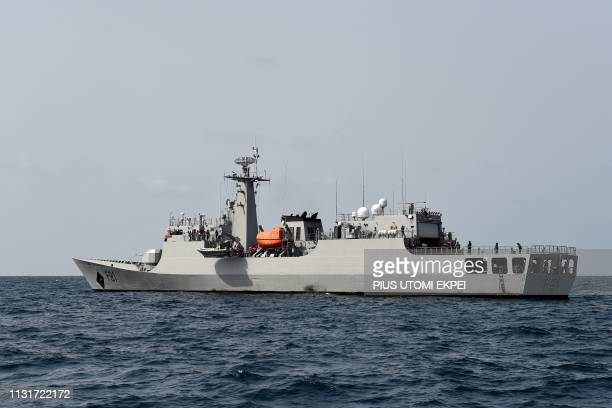 Nigerian naval vessel christianed Centenary sails in high sea during Obangame Express a multinational maritime exercise involving 33 countries off...