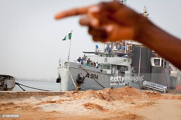 Nigerian Navy vessel at the port of CotonouBenin after patrolling the coast for pirates Pirate attacks off the coast of west Africa have increased...