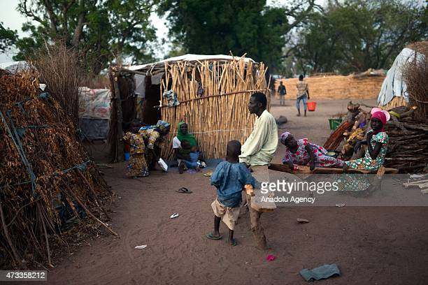 Nigerian people living in Malkoli camp in the Yola city of Adamawa are seen on May 14 2015 Nigerian families who fled the violence of Boko Haram in...